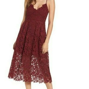 NWT Maroon Floral Lace Dress US Plus Size 14